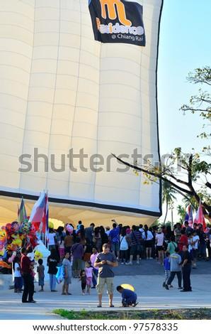 CHIANG MAI, THAILAND - JAN 21: Unidentified peoples at The 1st CHIANGMAI international Balloon festival on Jan 21, 2012 in Khaung Sansai San Sai Luang Municipality , Chiang Mai, Thailand. - stock photo