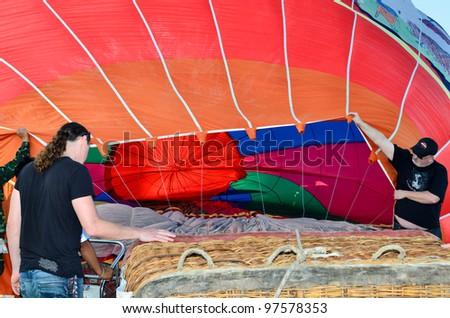 CHIANG MAI, THAILAND - JAN 21: Unidentified peoples at The 1st CHIANGMAI international Balloon festival on Jan 21, 2012 in Khaung Sansai San Sai Luang Municipality , Chiang Mai, Thailand.