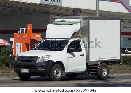 CHIANG MAI, THAILAND -JANUARY 24 2017: Private Cold Container Truck for Ice and Freed Food Transportation. Photo at road no.121 about 8 km from downtown Chiangmai, thailand. #655697842