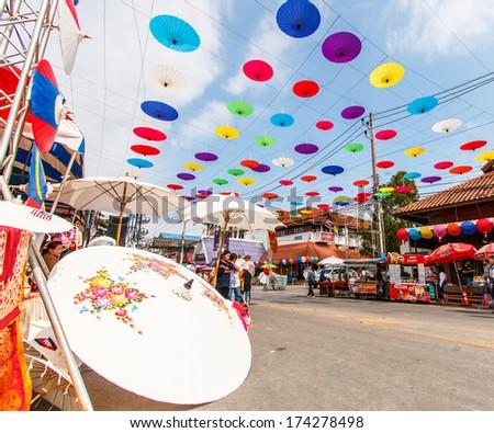CHIANG MAI, THAILAND-JANUARY 19 : 31th anniversary Bosang umbrella festival,Home and shop decoration annual Umbrella festival at San Kamphaeng. on Jan.19, 2014 in Chiang Mai, Thailand.