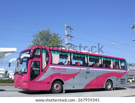CHIANG MAI, THAILAND - JANUARY 13 2015: Travel Bus of The Transport Company Limited. Photo at road no 1001 about 8 km from downtown Chiangmai, thailand.