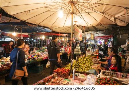 Chiang Mai Thailand - January 13 : Warorot Market, Popular ...