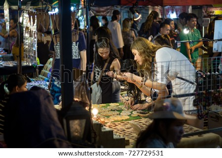CHIANG MAI THAILAND - MARCH 5 : Saturday market walking street, Popular tourist souvenirs and visit the local craft market. on March 5,2016 in Chiang Mai, Thailand.