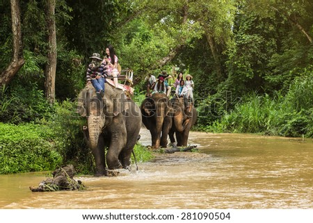 CHIANG MAI, THAILAND - MAY 23, 2015 : Tourists riding on the elephant across river Maewang 