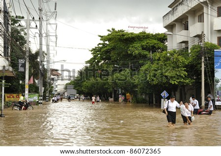 CHIANG MAI THAILAND - SEPTEMBER 28 : Flooding in Chiangmai city.Flooding of buildings near the Ping River on September 28,2011 in Chiangmai, Thailand