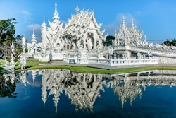 Chiang Rai, Thailand- January 25 2017: Wat Rong Khun, The White Temple, in Chiang Rai province, northem Thailand.
