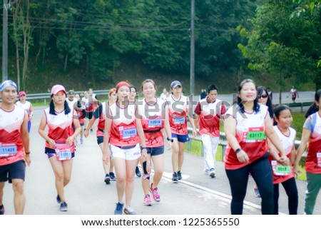 Chiang Rai THAILAND-9:29:2018: MFU RUN 2018 in Mae Fah Luang University Chiang Rai Thailand.People. Running at city streets. #1225365550