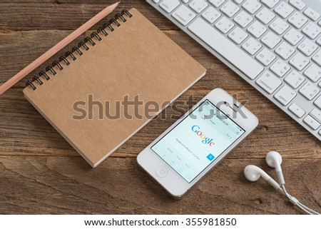 CHIANGMAI,THAILAND - DECEMBER 29, 2015: Google is an American multinational corporation specializing in Internet-related services and products. Most of its profits are derived from AdWords.