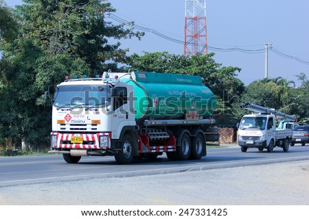 CHIANGMAI, THAILAND - DECEMBER 15 2014:  Oil Truck of PTG Energy Oil transport Company. Photo at road no.121 about 8 km from downtown Chiangmai, thailand.