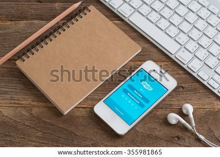 CHIANGMAI,THAILAND - DECEMBER 29, 2015: Skype is a voice-over-IP service and instant messaging client, developed by the Microsoft Skype Division. The name was derived from \