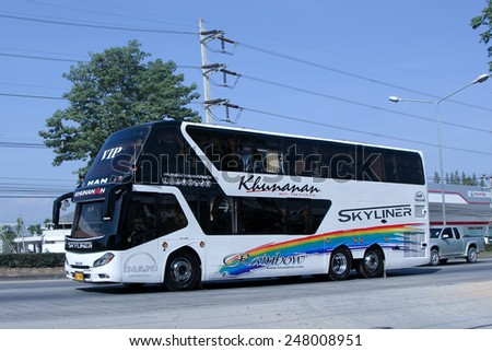 CHIANGMAI , THAILAND - DECEMBER 20 2014:  Travel bus of Khunanan Transport. Photo at road no 1001 about 8 km from downtown Chiangmai, thailand.