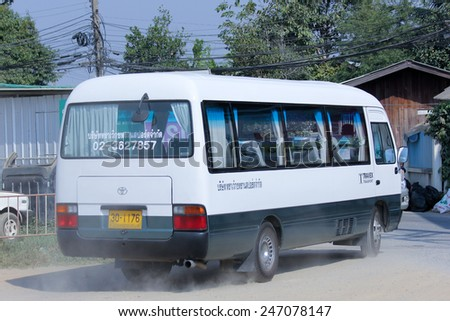 CHIANGMAI , THAILAND - DECEMBER 11 2014: Travel bus of TRAVEX Transport Company. Photo at road no 121 about 8 km from downtown Chiangmai, thailand.