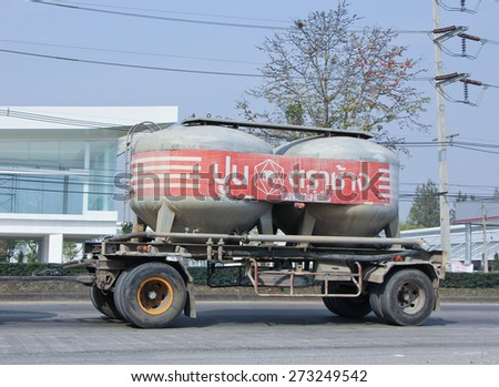 CHIANGMAI, THAILAND -FEBRUARY 3 2015: Cement truck of TPL Logistic company. Photo at road no.1001 about 8 km from city center, thailand.