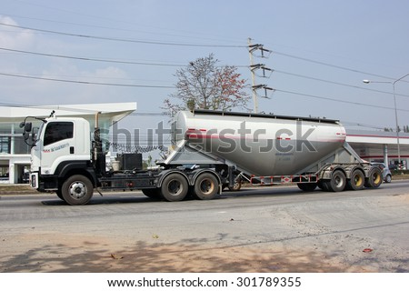CHIANGMAI , THAILAND -FEBRUARY 6 2015: Cement truck of TTL Logistic company. Photo at road no.121 about 8 km from downtown Chiangmai, thailand.