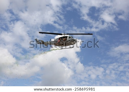 CHIANGMAI, THAILAND - JANUARY 10: Bell-212 Helicopter in Thai National Children\'s Day on January 10, 2015 in Chiang Mai, Thailand.