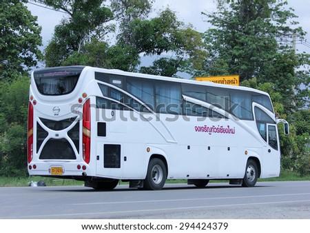 CHIANGMAI, THAILAND -JULY  2 2015:   Travel bus of JongJaRoen Tour. Photo at road no 121 about 8 km from downtown Chiangmai, thailand.