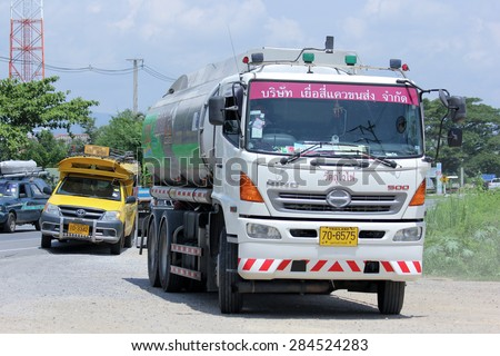 CHIANGMAI, THAILAND - JUNE 4 2015:  Oil Truck of Yueasikhaew Oil transport Company.  Photo at road no.121 about 8 km from downtown Chiangmai, thailand.