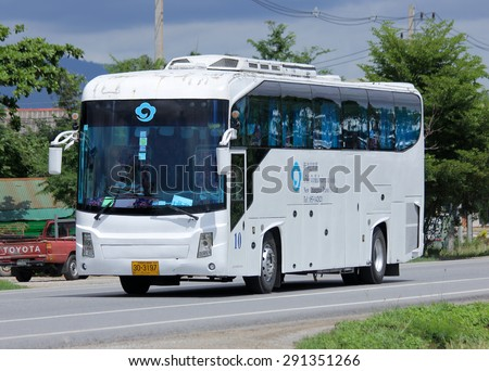 CHIANGMAI, THAILAND -JUNE 28 2015:  Travel bus of New Chiangmai Travel Company. Photo at road no 121 about 8 km from downtown Chiangmai, thailand.