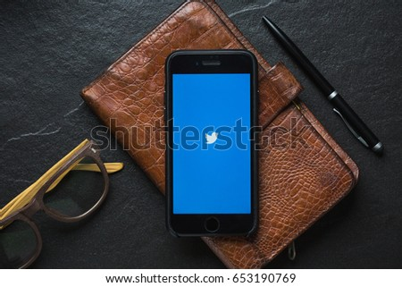 "CHIANGMAI, THAILAND - JUNE 4, 2017 : Twitter application,Twitter is an online social networking and microblogging service that enables users to send and read ""tweets"""