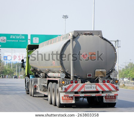 CHIANGMAI, THAILAND - MARCH  4 2015: Oil Truck of P2 Oil transport Company. Photo at Road No.11 about 5 Km from Chiang mai city.