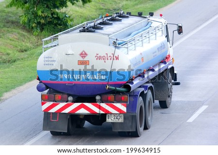 CHIANGMAI, THAILAND - MAY 21 2014:  PTT Oil Truck of Bun tha wee maerim Oil transport Company. Photo at Road No.11 about 5 Km from Chiangmai city.
