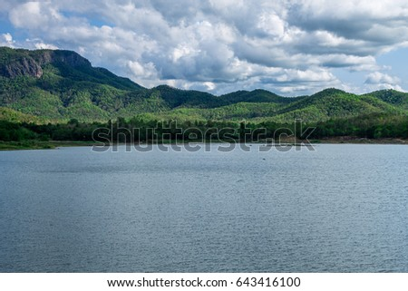 ChiangMai, Thailand. May, 18-2017: The available quantity of water has been reserved at the irrigation dam as the reasons of needing for agricultural purposes in remote districts. #643416100