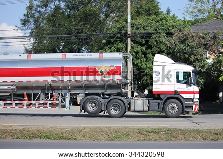 CHIANGMAI, THAILAND -NOVEMBER 18  2015:  Esso Oil Truck of Pong RaVee Oil transport Company.  Photo at road no.11 about 3 km from city center, thailand.