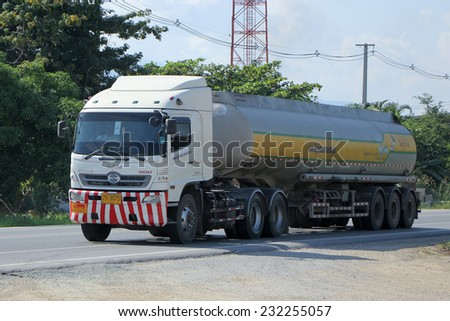 CHIANGMAI , THAILAND - NOVEMBER 14 2014: Oil Truck of kitiwat Oil transport Company. Photo at road no.121 about 8 km from downtown Chiangmai, thailand.