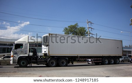 Chiangmai, Thailand - November 30 2018: Trailer Container Cargo Truck of Rud Olarn Company Company. Photo at road no.1001 about 8 km from city center, thailand. #1248917185