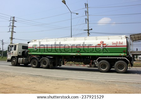 CHIANGMAI, THAILAND - OCTOBER 7 2014: Oil Truck of PTG Energy Oil transport Company. Photo at road no.121 about 8 km from downtown Chiangmai, thailand.