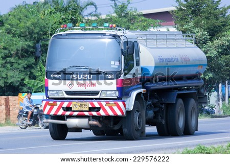 CHIANGMAI, THAILAND -OCTOBER 18 2014:  PTT Oil Truck of Sukhum Oil transport Company. Photo at road no.121 about 8 km from downtown Chiangmai, thailand.