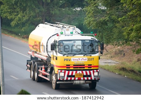 CHIANGMAI, THAILAND - OCTOBER 13 2010 : Shell Oil Truck of Pong Ra Vee Oil transport Company. Photo at Road No.11 about 5 Km from Chiangmai city.