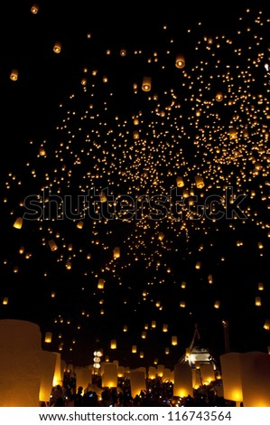 CHIANGMAI, THAILAND - OCTOBER 29 :Thai people floating lamp. October 29 ,2011 in Tudongkasatarn, Chiangmai, Thailand. Tudongkasatarn is where floating lamp ceremony takes place every year.