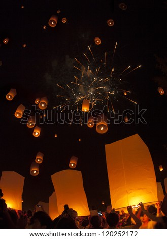 CHIANGMAI, THAILAND - OCTOBER 25:Thai people floating lamp. October 25 ,2012 in Tudongkasatarn, Chiangmai, Thailand. Tudongkasatarn is where floating lamp ceremony takes place every year.
