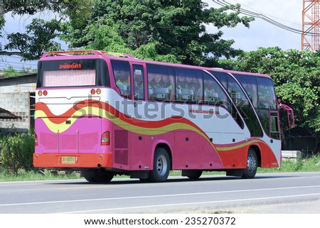 CHIANGMAI, THAILAND - OCTOBER 2 2014:  Travel bus of Ananda Transport. Photo at road no 121 about 8 km from downtown Chiangmai, thailand.