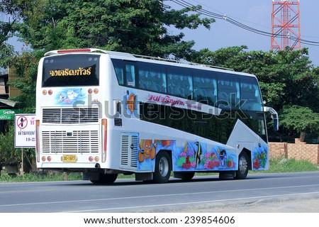 CHIANGMAI, THAILAND -OCTOBER 18 2014: Travel bus of Jongjaruen tour. Photo at road no 121 about 8 km from downtown Chiangmai, thailand.