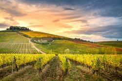 Chianti region, Tuscany, Italy. Vineyards at sunset, autumn colors