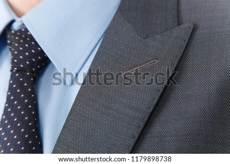 Chic and stylish suit, fashion background / Button suit stripe / Business, neckline. ストックフォト ©