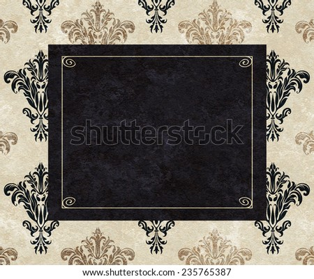 Chic copy space of a black frame on a background of taupe and black damask