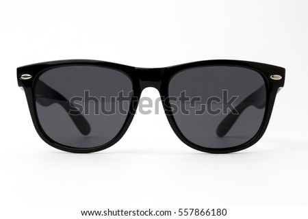 Chic sunglasses with black plastic frame isolated on white background, front view #557866180