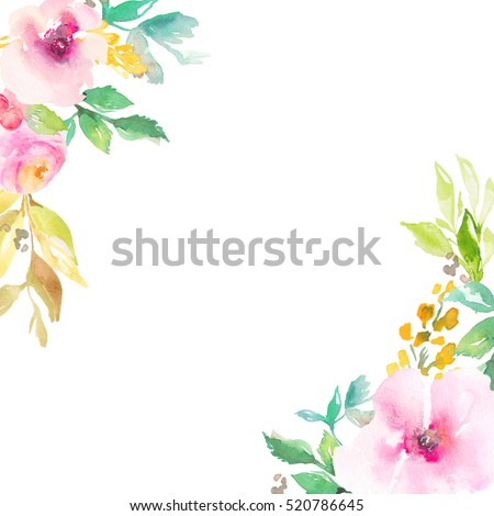 Chic Watercolor Flower Frame with Floral Corners and Blank Center for Custom Text