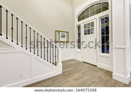 chic white entryway design...