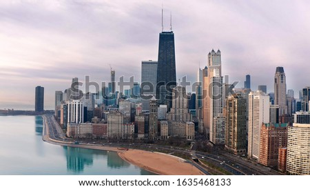 Chicago Aerial of Northside Cityscape Morning stock photo
