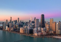 Chicago aerial view downtown panorama cityscape
