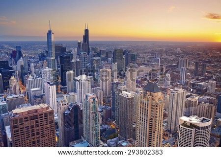 Chicago. Aerial view of Chicago downtown at twilight from high above. #293802383