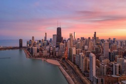 Chicago aerial view of lake shore drive and Gold Coast top view