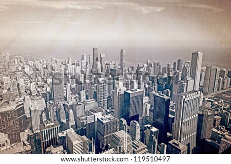 Chicago aerial view - old postcard design