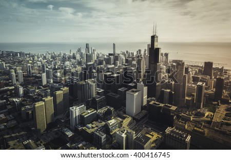 chicago aerial view with...