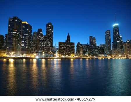 Chicago and Lake Michigan shoreline with clear night skies.