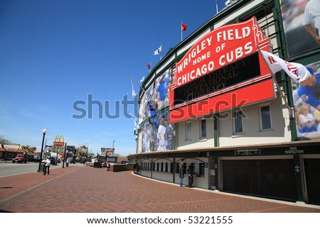 CHICAGO - APRIL 26: Classic Wrigley Field and the famous welcome sign as viewed from Addison Street on April 26, 2010 in Chicago, Illinois.